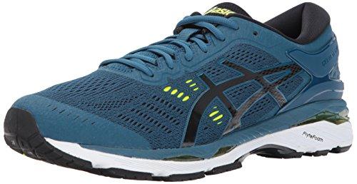 ASICS Men's Gel-Kayano 24 Running-Shoes, Ink Blue/Black/Safety Yellow, 8.5 Medium US