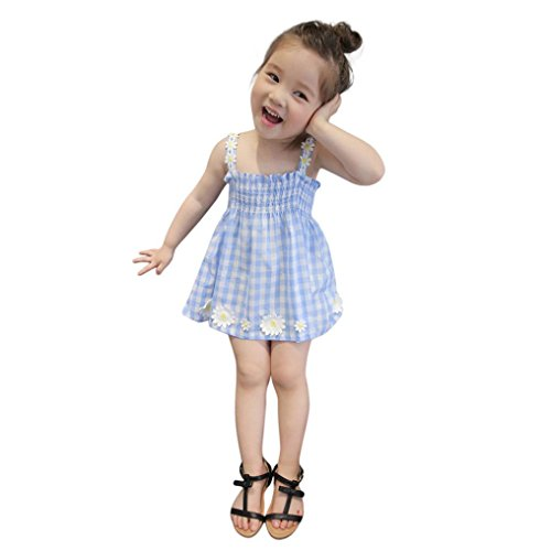 Baby Girls Dress Gingham Stripe Cute Spring Summer Clothes Size 12M-4T (Blue, 12M)