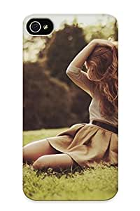 Fashion Protective Pose Mood Emotion Alone Sad Sorrow Blonde Dress Style Grass Babes Sexy Sensual Models Women Females Girls Trees Nature Park Case Cover Design For Iphone 4/4s
