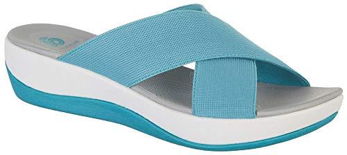 CLARKS Women's Arla Elin Slide Sandal, Aqua Elastic Fabric, 090 M US