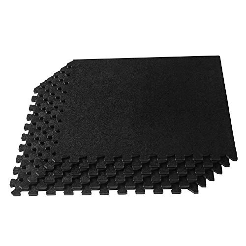 We Sell Mats 24 x 24 x 3/8 Inch Carpet Top Foam Mat, Standard, Black, 72 Square Feet (18 - 0.375 Memory Inch