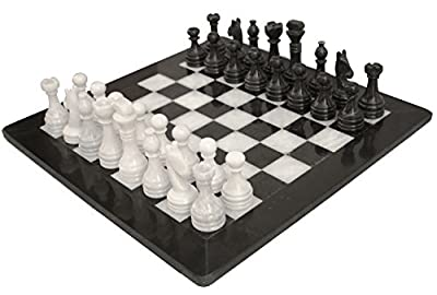 LAVISH DEALS 16 Inches Handmade Decor Ideas Large Chess Set Classic Board Game – Black and White Adult Marble Board Game with Complete 32 Chess Figures Set