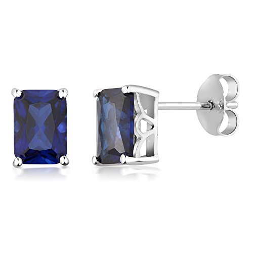 Gem Stone King 925 Sterling Silver Simulated Blue Sapphire Stud Earrings 7X5MM Emerald Cut 2.00 Cttw