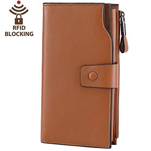 Itslife Women's RFID Blocking Large Capacity Luxury Wax Genuine Leather Clutch Wallet Card Holder Organizer Ladies Purse (2-Natural Light Brown RFID ()