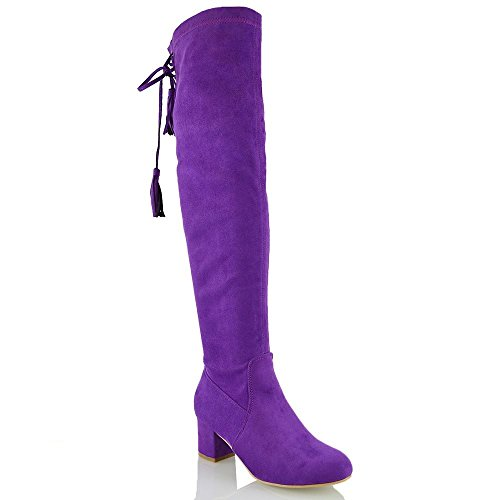 ESSEX GLAM New Womens Over The Knee High Stretch Leg Ladies Block Heel Lace Up Long Shoes PURPLE FAUX SUEDE E4gLQXqy