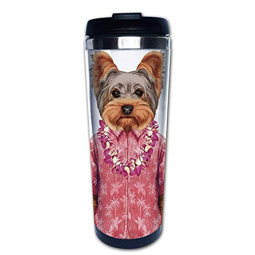 Stainless Steel Insulated Coffee Travel Mug,Humanoid Form with a Pink Shirt with Hawaian Lei,Spill Proof Flip Lid Insulated Coffee cup Keeps Hot or Cold 13.6oz(400 ml) Customizable printing