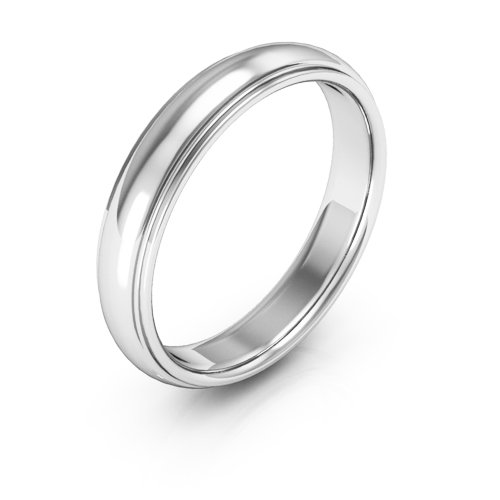 14K White Gold men's and women's plain wedding bands 4mm half round edge comfort fit, 5 by i Wedding Band