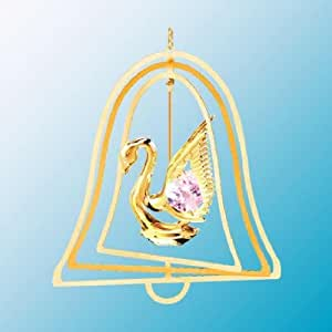 24K Gold Plated Hanging Sun Catcher or Ornament..... Swan with Pink Swarovski Austrian Crystals in a Bell