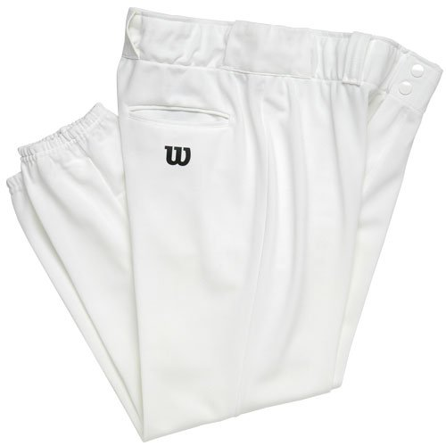 Wilson Adult Heavyweight Poly Warp Knit Baseball Pant with 28 Inch Inseam, White, - Heavyweight Knit Warp Poly Pants