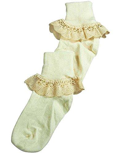 Christian Dior - Big Girls Narrow Cluny Lace Cuff Sock, Ivory 37060-X-Large