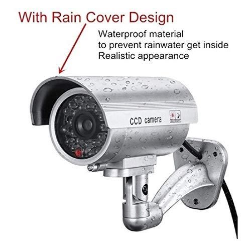 2 X Camaras Falsas De Seguridad Camara De Vigilancia Cctv Simulada Para Uso En Interiores O Exteriores Con Luz Led Intermitente