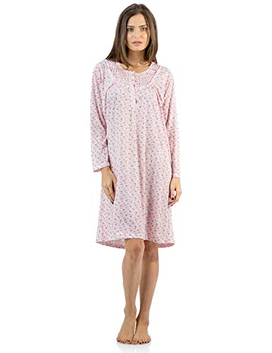 Casual Nights Women's Cotton Blend Long Sleeve Nightgown - Floral Pintucked Pink - Large (Nightgown Pintucked)