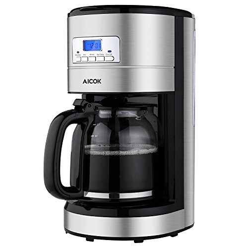 Aicok Coffee Maker, 12-Cup Programmable Coffee Machine with Glass Thermal Carafe, Stainless Steel Auto Turn Off Coffeemaker with LED Display, Sliver