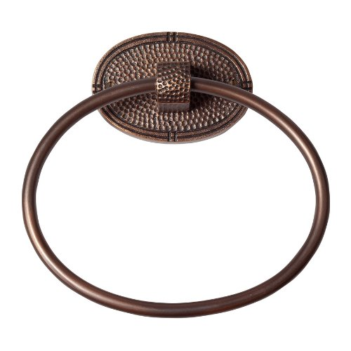 The Copper Factory CF133AN Solid Copper Towel Ring with an Oval Backplate, Antique Copper