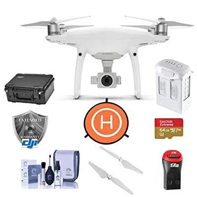 DJI Phantom 4 Pro Quadcopter Drone with Standard Remote Controller - Bundle With 64GB McrSDHC Card, DJI Care Refresh Warranty, Go Professional Carrying Case, Intelligent Battery, Propellers, And More