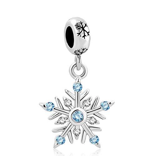 LovelyJewelry Daisy Jewelry Christmas Tree Gifts Charms Bead for Snake Chain Bracelets (Blue - Christmas Snowflake Charm