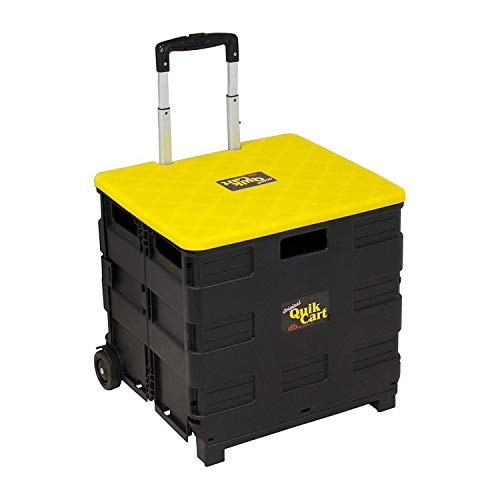 - Ultra Compact Quik Cart Two-Wheeled Collapsible Handcart with Lid Rolling Utility Cart