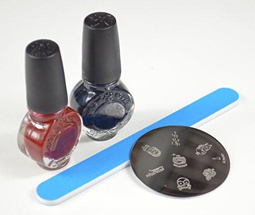 KONAD STAMPING NAIL POLISH HALLOWEEN SET- IMAGE PLATE M13 + 11ML (BLACK PEARL, WINE RED) + BLACK STAMP AND SCRAPER + NAIL FILE