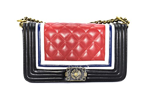 Trendy Diamond Quilted Nautical Cruise Shoulder Satchel Tote Bag (red)