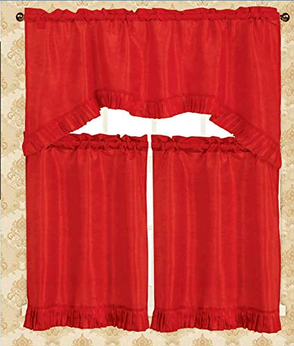 Luxury Home Fashion 3 Piece Kitchen Curtain 100% Polyester, 1 Swag Valance: 55