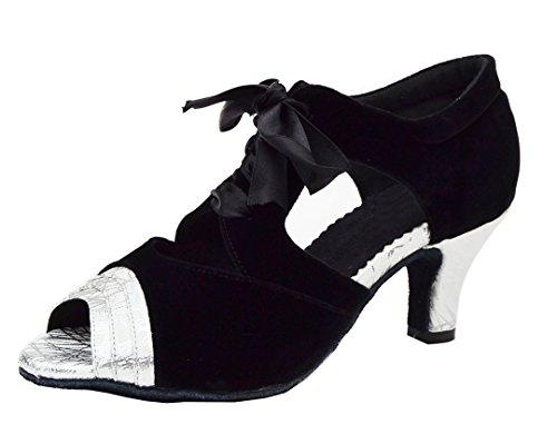 Tda Donna Peep Toe Nastro Strappy Pelle Scamosciata Salsa Tango Da Ballo Latino Scarpe Da Danza Moderna Argento