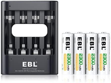 EBL Cargador Rápido de Pila, Cargador de Batería para Pilas Recargables AA AAA Ni-MH (Incluye 4 x AA 2300mAh)