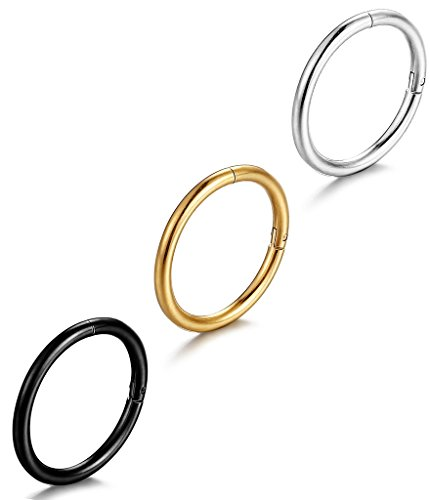 "FIBO STEEL 16G Stainless Steel Stainless Steel Septum Piercing Nose Ring Hoop Earring Piercing 3PCS 5/16""(8mm)"