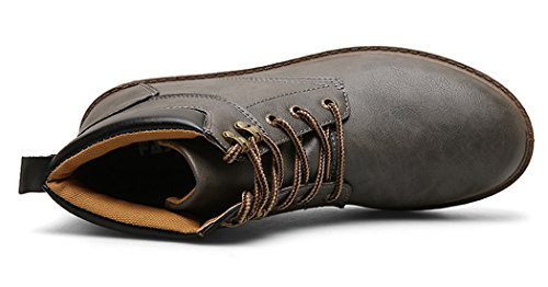 Santimon Herren Martin Stiefel Derby Wasserdicht Kurz Stiefeletten Klassischer Leder Kurzschaft Outdoor Schuhe Grau