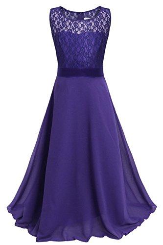 YMING Grils Princess Dress Weeding Chiffon Maxi Floor Dress Dark Purple 8-9 -