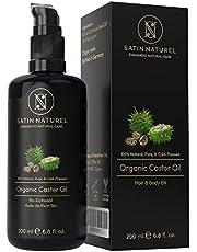 Bio olej rycynowy wegański + tłoczony na zimno do skóry, włosów i rzęs - 200 ml ochrona przed światłem - 100% czysty, naturalny i naturalny - satynowy naturalny naturalny kosmetyk naturalny