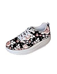 FOR U DESIGNS Vintage Floral Rose Print Fitness Walking Sneaker Casual Women's Wedges Platform Shoes