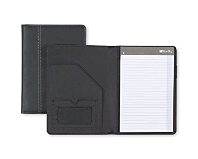 "Blue Sky Professional Padfolio, 5"" x 8"", Black Leather-Like Textured Cover, Paper Notepad Included"