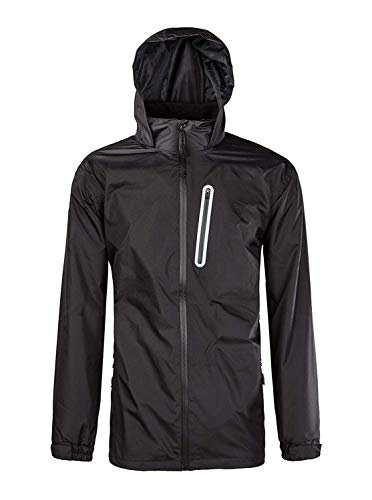 ZITY Men Hiking Light Weight Jacket Hooded Thin Rainwear Windproof Breathable Rain Coat, Black, US XL