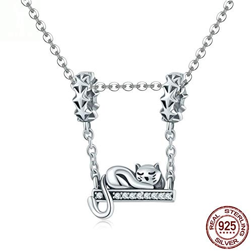 (WANZIJING Charms Beads for Jewelry Making, 925 Sterling Silver Sleepy Cat Pendant Beads with Zircon Fits Bracelet Necklace for Girl,Pendant)