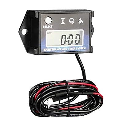 Digital Tach Hour Meter Tachometer - AIMILAR Maintenance Engine Hourmeter for Lawn Mower Snowmobile Boat Motocross Motorcycle Dirtbike Generator Skis Motor Bike Go Kart: Automotive