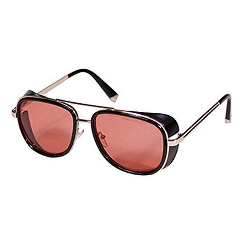 Iron Man Sunglasses Mens Womens Retro Square Metal Frame Sunglasses C9