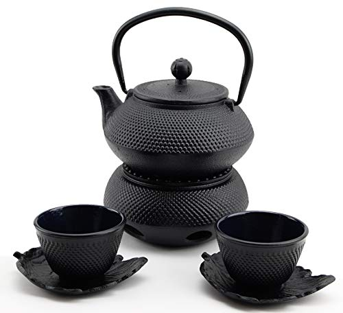 急須きゅうす Hobnail Iron Teapot Set - Japanese Antique 24 Fl Oz Small Dot Cast Iron Teapot Tetsubin with Infuser, 2 Cups with Saucers and Teapot Warmer, Birthday gift idea for gift price $120
