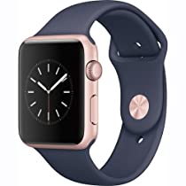 Apple Watch Series 1 42mm Smartwatch (Rose Gold Aluminum Case, Midnight Blue Sport Band)