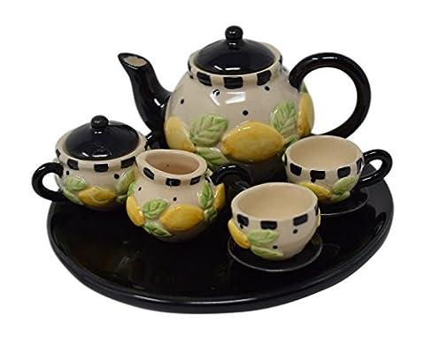 10 Piece Dollhouse Miniature Tea Set with Teapot, Sugar, Creamer, Two Cups and Saucers, and Plate (Black Lemon - Tea Hostess Set