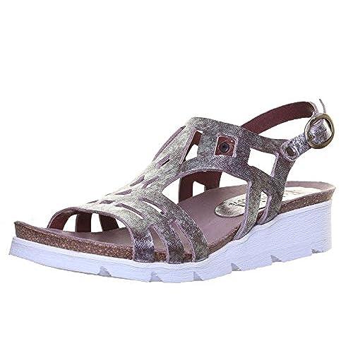 cebcfcb2a07309 Felmini 8986 pour femme en cuir faible talon compensé Boucle Laser Cut  Sandal ...