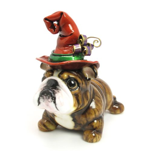 Bulldog Piggy Bank Dog Witch with Red and Green Witch Hat