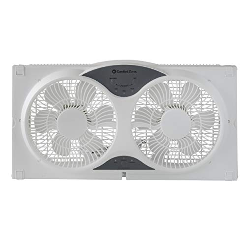 Comfort Zone CZ310R 3-Speed 3-Function Expandable Reversible Twin Window Fan with Remote Control, Removable Cover and Bug Screen