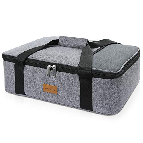 Lifewit Insulated Casserole Dish Carrier Thermal Lasagna Lugger for Potluck Parties/Picnic/Beach, Lunch Bag to Keep Food Hot/Cold, 16.3 x 12.6 x 4.7'', Grey