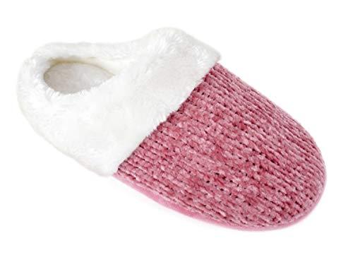Pantoufles Chenille en tricotées de Femme Rose Mule rRaBrWwTqx
