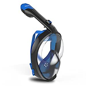 SEABEAST AF90 Full Face Snorkel Mask, Real Anti-Fog Snorkeling Mask Large View with Foldable Tube and Removable Camera Mount