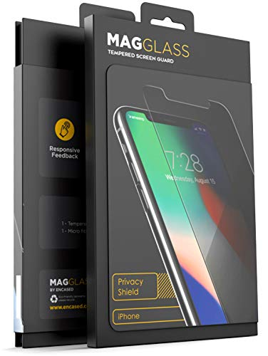MagGlass Privacy Guard for iPhone Xs MAX Tempered Glass Screen Protector (Anti Spy) Fingerprint Free Scratch Resistant Display (Bubble Free & Case Friendly)