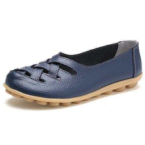 Leather Femmes Nos Slip 40 Loafers On Taille Couleur Flats Hollow Bleu Large Zhrui EU Jaune xRqtB0W