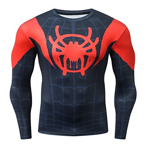 M & C Sports Direct Spider-Verse BJJ Grappling Rash Guard Spiderman MMA Compression Shirt for Men Long Sleeve - Fight Wear (XXL)
