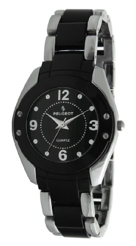 Peugeot Women's 7071BK Silver-Tone and Black Watch with Acrylic-Link Bracelet