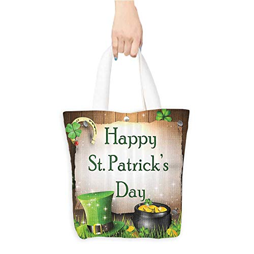 Shopping Tote BagHappy St. Patricks Day Gift Holiday for Celebration Party Decorations in Irish Shamrock Leaf The Lucky Clovers Gold Horseshoe Coin Traditional Bath De(W15.75 x L17.71 Inch) ()
